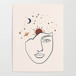 Abstract minimal linear fine art lady decor Print Poster