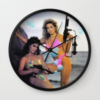guns Wall Clocks featuring Bubble Guns by Woah Jonny