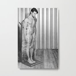Naked man wrapped with pallet wrap. #A9118  Metal Print