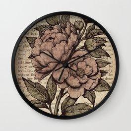 Peonies  - Color Wall Clock