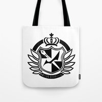 dangan ronpa Tote Bags featuring Dangan Ronpa High School logo  by Prince Of Darkness