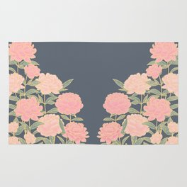 Pink peonies vintage pattern Rug