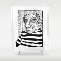 picasso Shower Curtains featuring Pablo Picasso by Benson Koo