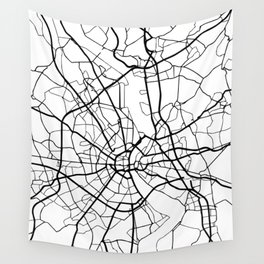 COLOGNE GERMANY BLACK CITY STREET MAP ART Wall Tapestry