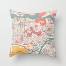 Burnaby - Canada Chalk City Map Throw Pillow