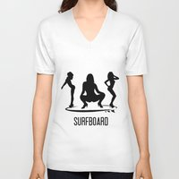 surfboard V-neck T-shirts featuring surfboard by August Riche