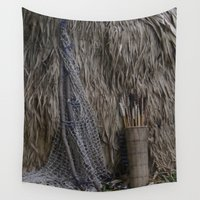 hunting Wall Tapestries featuring Tribal Hunting Hut by Wired Circuit