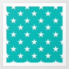 Stars (White/Tiffany Blue) Art Print