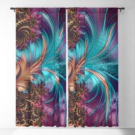 Blue Purple Feather Fractal Artistic Blackout Curtain
