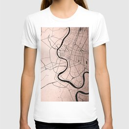 Bangkok Thailand Minimal Street Map - Rose Gold Pink and Black T-shirt
