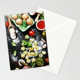 Homemade raw Italian tortellini Stationery Cards