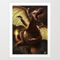 charizard Art Prints featuring Charizard by Juan Hugo Martinez Illustrations