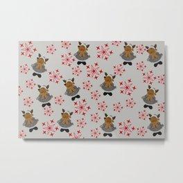 Winter Deer with red Stars pattern design Metal Print