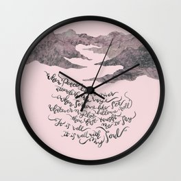 It Is Well With My Soul -pink&grey Wall Clock