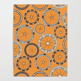 bike wheels amber Poster