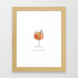 Spritz time ! - Cocktail and cute cat Framed Art Print