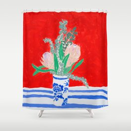 Protea Still Life in Red and Delft Blue Shower Curtain