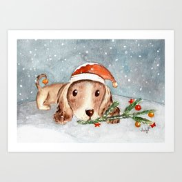 Christmas Puppy Look Art Print
