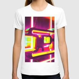night light with open neon sign in pink yellow green background T-shirt