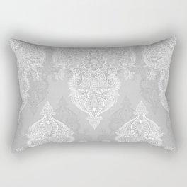 Lace & Shadows 2 - Monochrome Moroccan doodle Rectangular Pillow