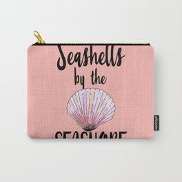 Watercolor Seashells by the Seashore Typography Carry-All Pouch