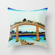 Mannen Bridge and Mount Fuji Throw Pillow