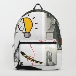 Cat, telephone and Albert Einstein quote Backpack