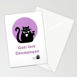 """""""Cats love Champagne"""" by Qora & Shaï Stationery Cards"""