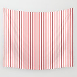 Mattress Ticking Narrow Striped Pattern in Red and White Wall Tapestry