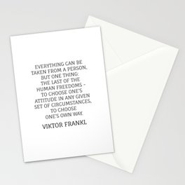 Viktor Frankl Stoic Quote - TO CHOOSE ONE'S OWN WAY Stationery Cards