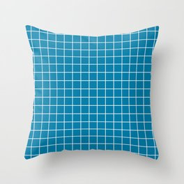 Celadon blue - blue color -  White Lines Grid Pattern Throw Pillow