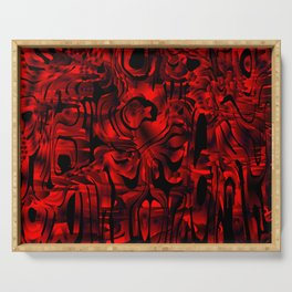 Smooth weaves of mysterious infinity of red lines and a dark square cycle. Serving Tray