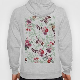 Abstract red pastel green pink country floral pattern Hoody