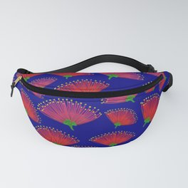 Pohutukawa flowers on Navy Background Fanny Pack