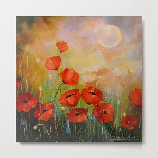 Poppies in the moonlight Metal Print