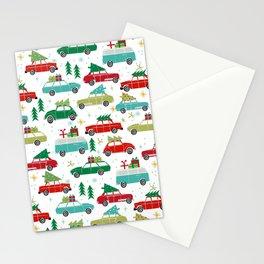 Christmas holiday vintage cars classic festive christmas tree snowflakes winter season Stationery Cards