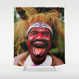 Eating a Betel Nut in Papua New Guinea Shower Curtain