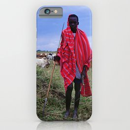 Two Maasai Teens Tending to Cattle in Africa iPhone Case