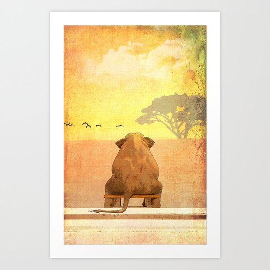 The sitting elephant - for iphone Art Print