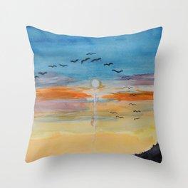 Birds and sunset Throw Pillow