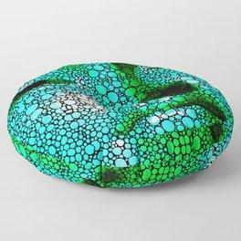 Green Buddha - Stone Rock'd Art By Sharon Cummings Floor Pillow