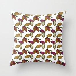 Cacao Pods - White Throw Pillow