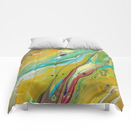 Fluid Nature - Sunny Springtime - Abstract Acrylic Pour Art Comforters