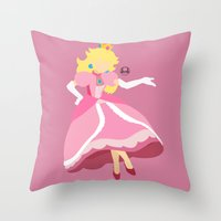 princess peach Throw Pillows featuring Princess Peach(Smash) by samaran