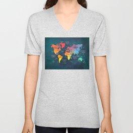 world map 49 color Unisex V-Neck
