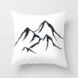 MOUNTAINS Black and White Throw Pillow
