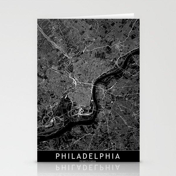 Philadelphia Black Map Stationery Cards