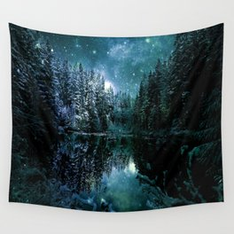 Winter Wonderland Forest Green Teal : A Cold Winter's Night Wall Tapestry