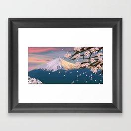 mt. fuji and cherry blossoms Framed Art Print