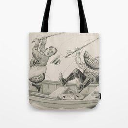 Vintage Funny Fishing Trip Illustration (1882) Tote Bag